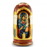 """Handmade Wooden Icons as 5 Nesting Dolls Holy Mother of God, Fadeless Color, 8"""""""