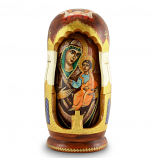 """Handmade Wooden Icons as 5 Nesting Dolls """"Iviron Holy Mother of God"""" (Our Lady of Iviron), 8"""""""