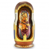 """Wooden hand-made icons in the form of 7 dolls """"Vladimir Mother of God"""" H-9.5"""""""