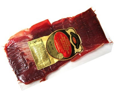 Sliced Bastourma cured and dried beef strip