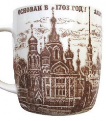 "Souvenir Porcelain mug ""Collage St. Petersburg"" /060-1-93"