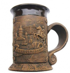 "Souvenir Ceramic mug ""Collage. St. Isaac's Cathedral - The Bronze Horseman - The Hermitage""/065-5-01K11"