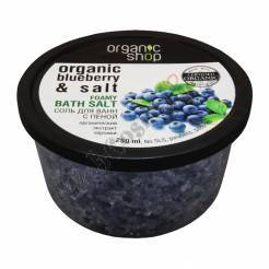 "Bath Salt With Foam ""Blueberry Yogurt"" 250 Ml Sea Salt, Organic-rich Bilberry Extract"
