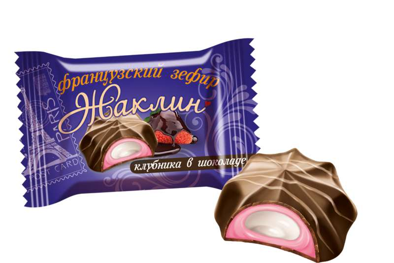 Jacqueline Zephyr Chocolate Candy with Strawberry 0.5 lb/ 226 g (Slavyanka)