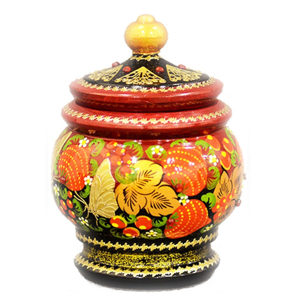 "Decorative Handmade Wooden ""Little Pot"" w/ Natural Organic Flower Honey, 300 g/ 10.5 oz"