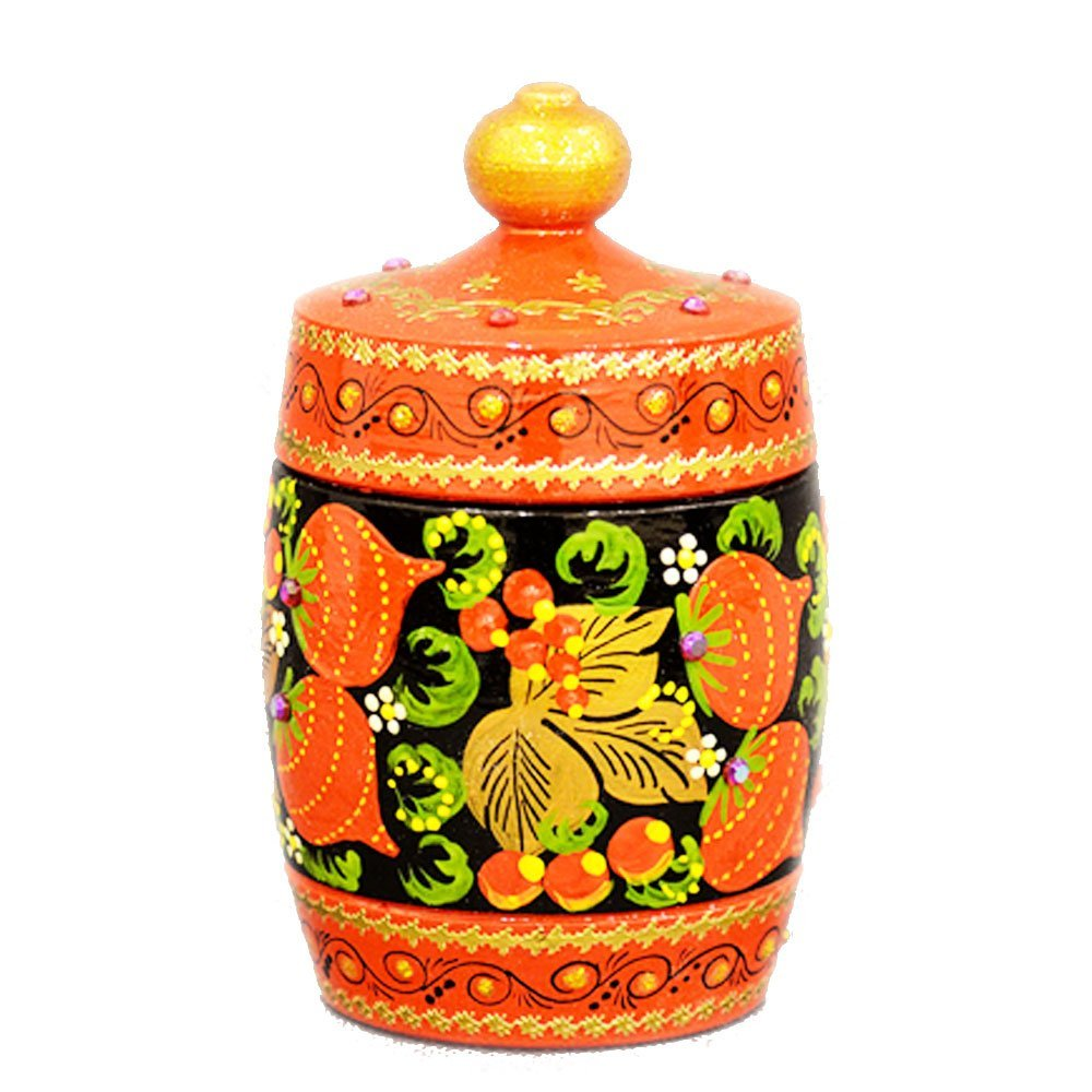 "Decorative Handmade Wooden ""Little Barrel"" w/ Natural Organic Flower Honey, 150 g/ 5.29 oz"