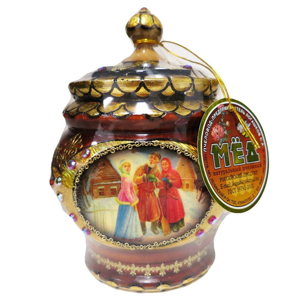 """Decorative Handmade Wooden """"Young People"""" w/ Natural Organic Flower Honey, 300 g/ 10.5 oz"""
