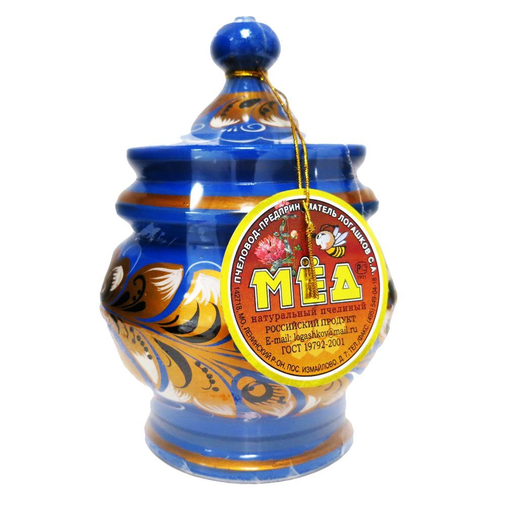 "Decorative Handmade Wooden ""Blue Barrel"" w/ Natural Organic Flower Honey, 300 g/ 10.5 oz"