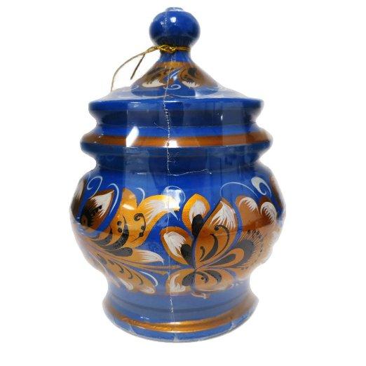 """Decorative Handmade Wooden """"Light Blue Barrel"""" w/ Natural Organic Flower Honey, 300 g/ 10.5 oz"""