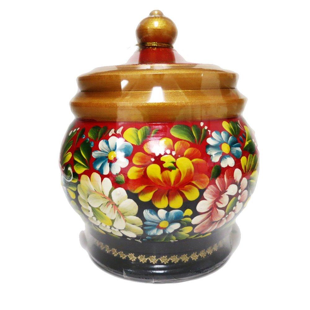 "Decorative Handmade Wooden ""Red Barrel"" w/ Natural Organic Flower Honey, 300 g/ 10.5 oz"