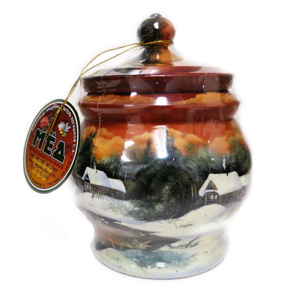 "Decorative Handmade Wooden ""Winter Peisage"" w/ Natural Organic Flower Honey, 300 g/ 10.5 oz"