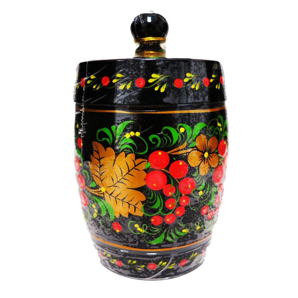 Decorative Handmade Wooden Hand Painted Barrel w/ Natural Organic Flower Honey, 300 g/ 10.5 oz
