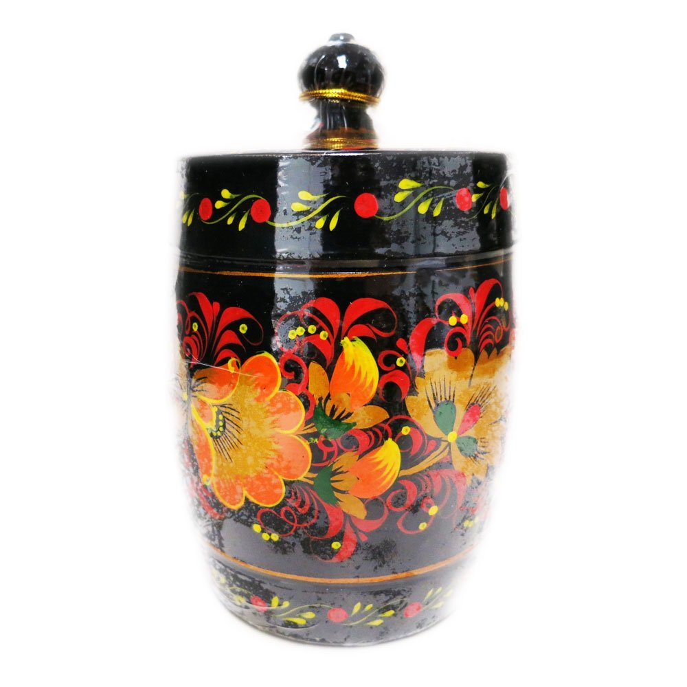 Decorative Handmade Wooden Barrel Hand Painted w/ Natural Organic Flower Honey, 300 g/ 10.5 oz