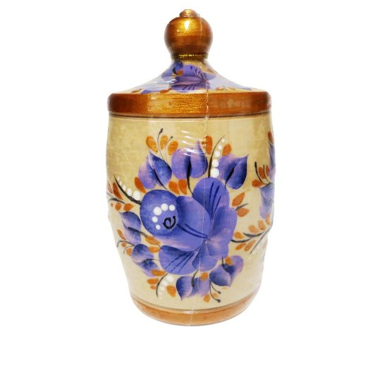 "Decorative Handmade Wooden Pot ""Light Blue Flowers"" w/ Natural Organic Flower Honey, 300 g/ 10.5 oz"