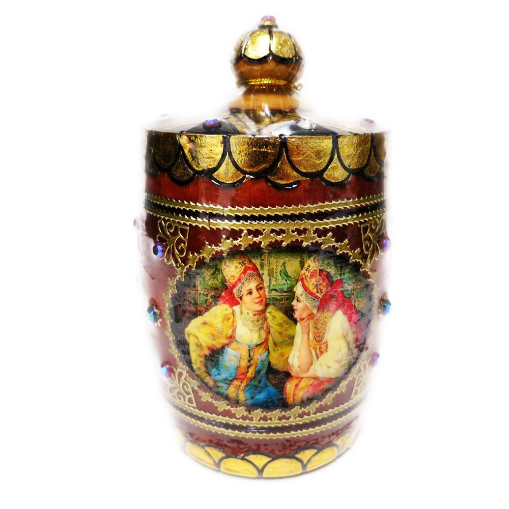 "Decorative Handmade Wooden Pot ""Russian Women"" w/ Natural Organic Flower Honey, 150 g/ 5.29 oz"