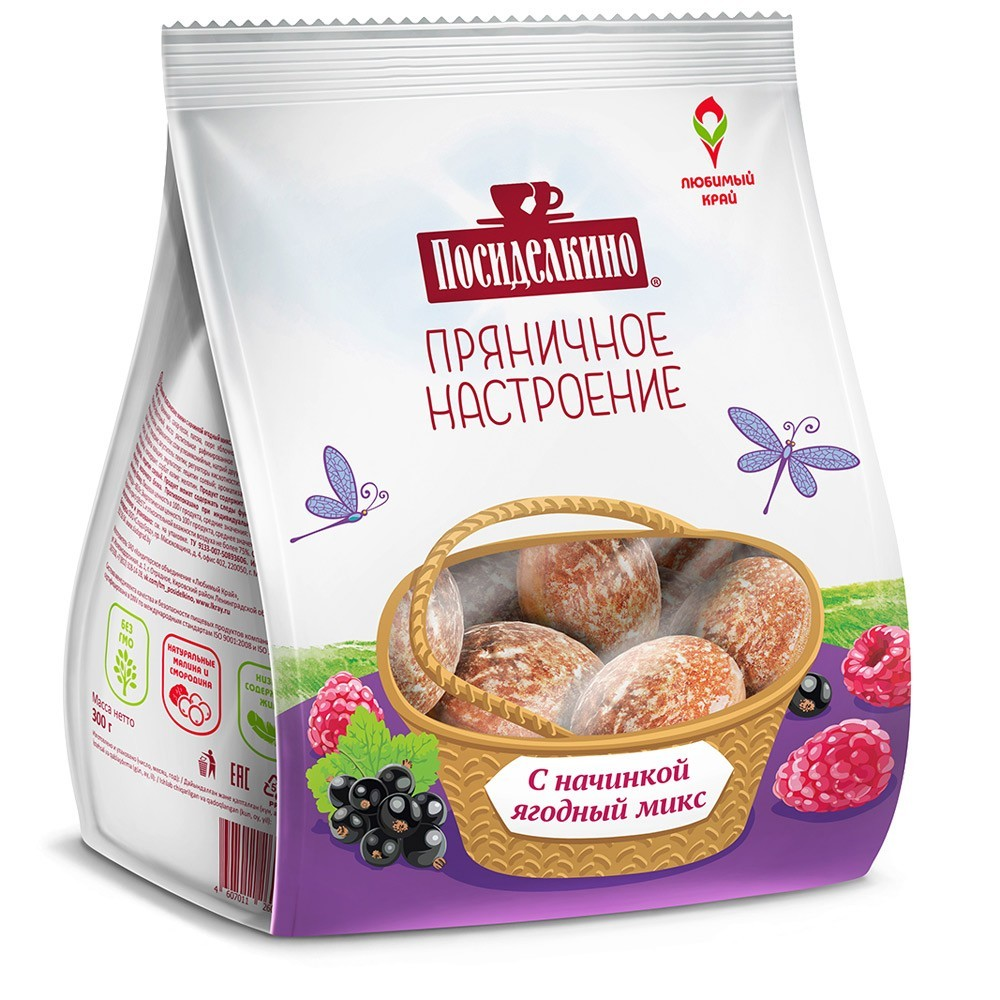 """Posidelkino"" Gingerbread w/ Berry Mix, 10.58 oz/ 300 g"