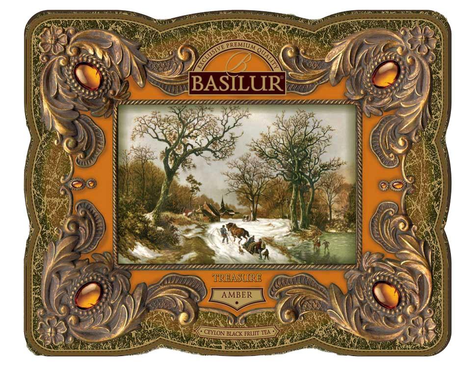 TREASURE Collection Basilur Gourmet Gift Tea Tin Box Amber 100 G