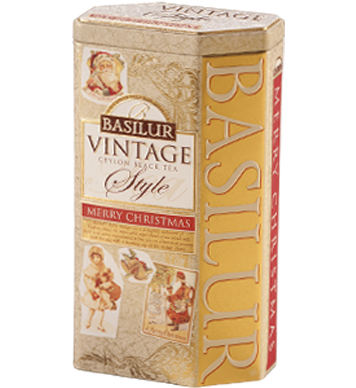 VINTAGE Collection Basilur Gourmet Gift Tea Tin Box Merry Christmas 100 G