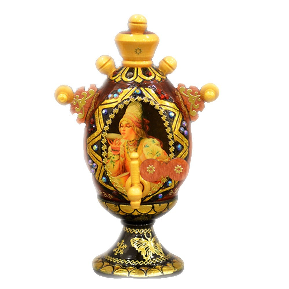 Decorative Handmade Wooden Gorgeous SAMOVAR w/ Natural Organic Flower Honey, 150 g/ 5.29 oz