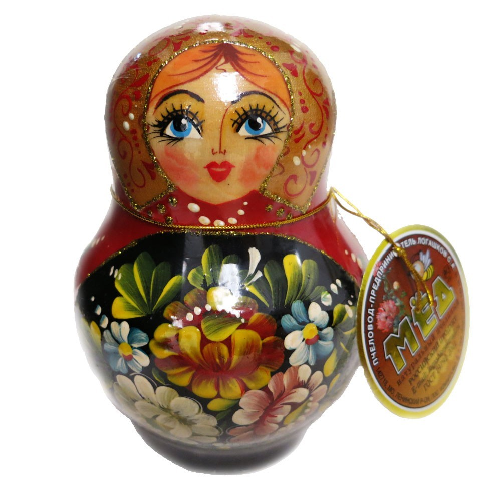 Decorative Handmade Wooden Nesting Doll Matryoshka w/ Natural Organic Flower Honey, 150 g/ 5.29 oz