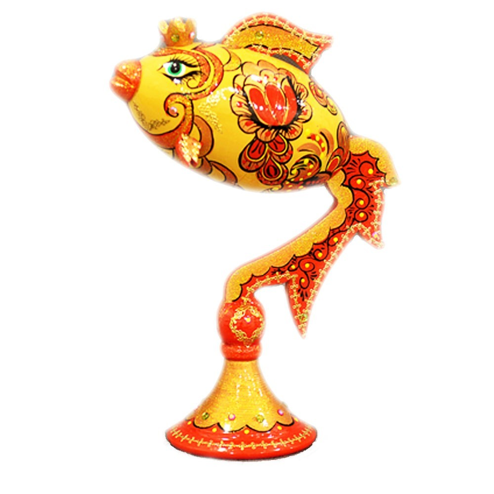 Decorative Handmade Wooden Gold Fish (Red) w/ Natural Organic Flower Honey, 150 g/ 5.29 oz