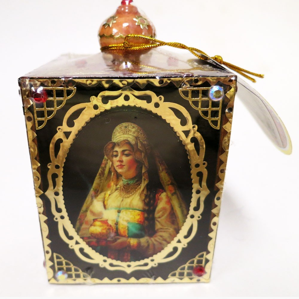"Decorative Handmade Wooden Little Box ""Russian Ladies"" w/ Natural Organic Flower Honey, 150 g/ 5.29 oz"