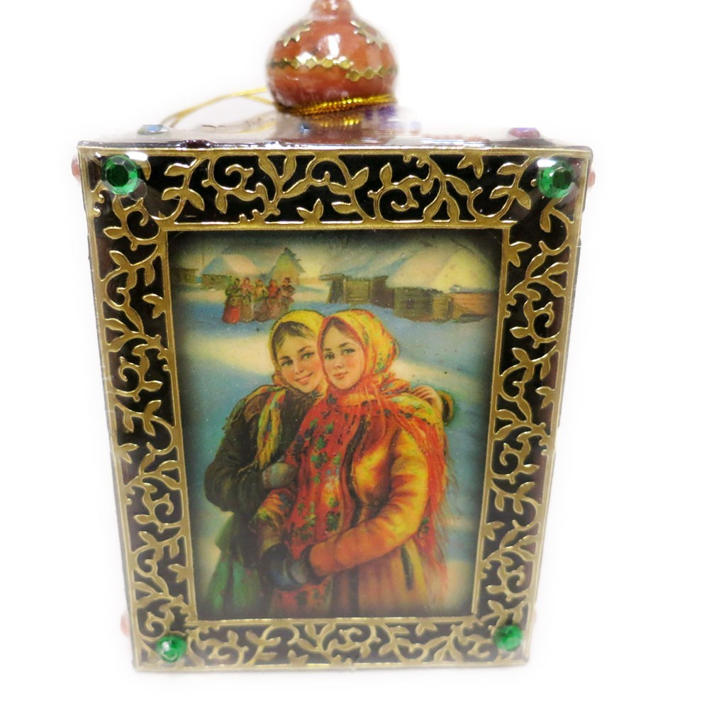 "Decorative Handmade Wooden Little Box ""Russian Girls"" w/ Natural Organic Flower Honey, 150 g/ 5.29 oz"
