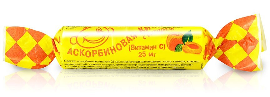 "Ascorbic Acid ""Askorbinka"", Peach, 10 Tab"