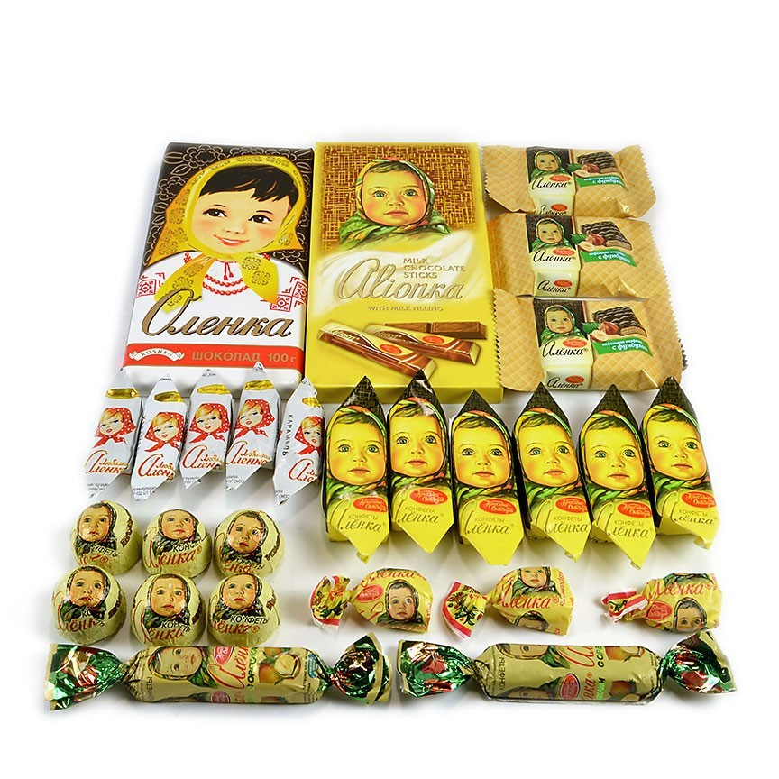 """Alyonka"" Set of 2 Chocolate Bars and Assorted Chocolate and Caramel Candy ***"