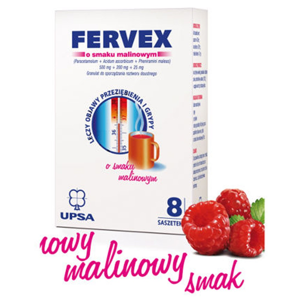 Fervex UPSA for Cold and Flu, Raspberry Flavor, 8 Sachets