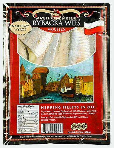 """Fillets Matjes """"Rybacka wies"""" herring fillets in oil (300 gr)"""