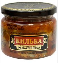 "Fried  Sprats in Tomato Sauce ""Riga Gold"", glass, 280 gr"