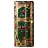 Basilur 2 in 1 Black Tea Mango and Sunflower and Green Black Tea Fruit Flowers in Metal Caddy, 4.41 oz/ 125 g
