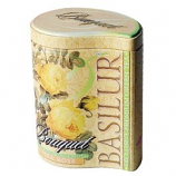 "Basilur Chinese Green Leaf Tea with pineapple, sunflower, marigold Bouquet ""Tea Rose"" in metal caddy, 100 gr"